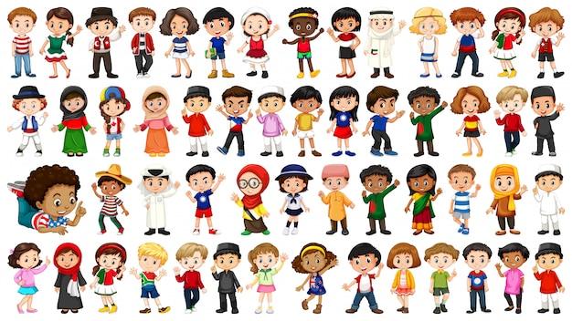 Gran conjunto de personas étnicas.