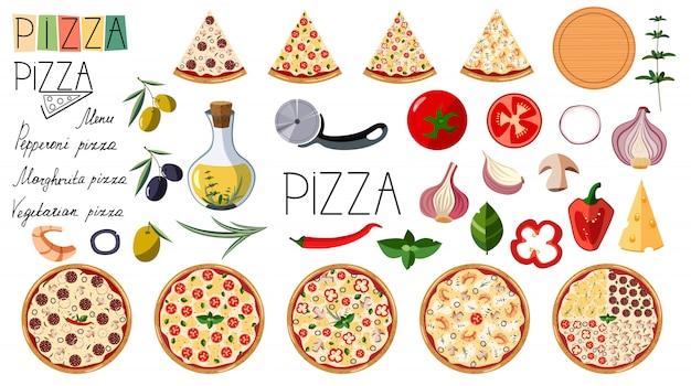 Gran conjunto de pizza. diferentes ingredientes tradicionales. logo pizza. pizza italiana entera con lonchas: margarita, mariscos, vegetariana, pepperoni.