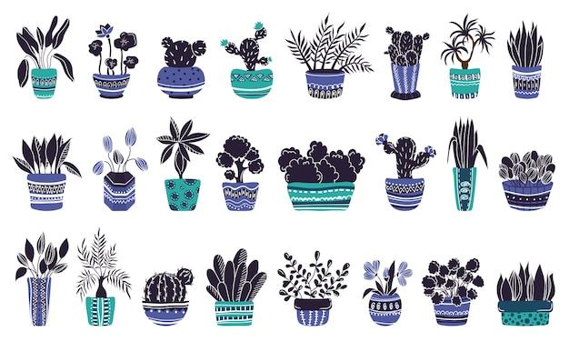Gran conjunto de plantas caseras en macetas o flores en macetas.