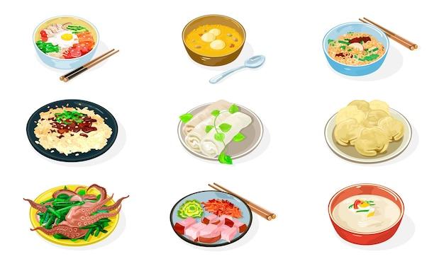 Gran conjunto de platos coreanos en tazones.