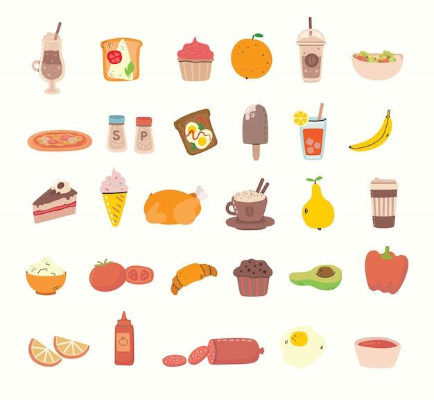 Gran conjunto de sabrosos alimentos y bebidas relacionados con objetos e iconos. ilustración de estilo plano moderno