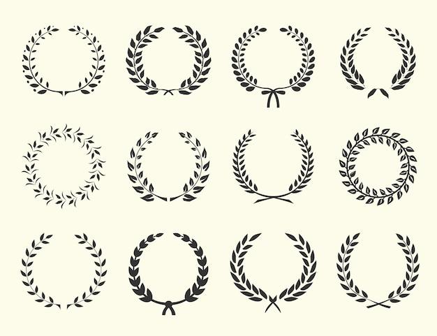 Gran conjunto de siluetas de coronas de laurel ilustración vectorial