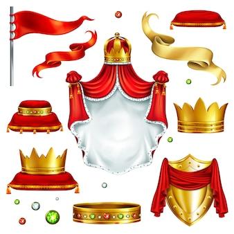 Gran conjunto de símbolos de poder de monarca.
