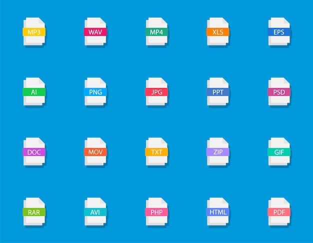 Gran conjunto de tipos de archivos coloridos iconos de documentos con extensiones de diferentes tipos de archivos