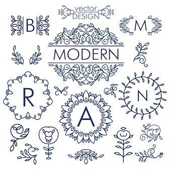 Gran conjunto de vectores de elementos de diseño floral de línea para logotipos