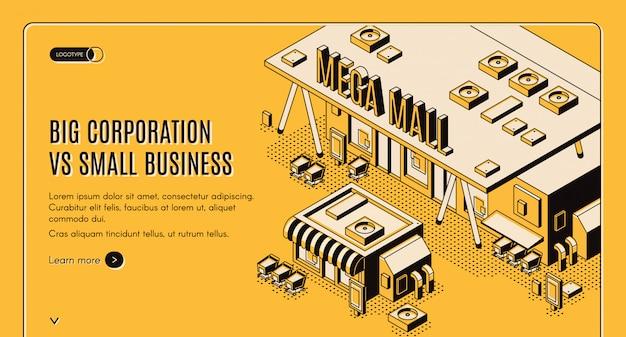 Gran corporación en banner isométrico de pequeña empresa