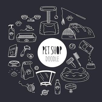 Gran doodle con cosas de mascotas e iconos de suministros en negro