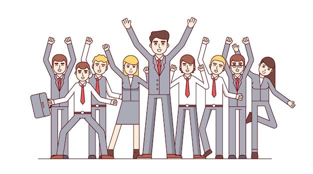 Gran equipo celebrando el éxito de los grandes negocios