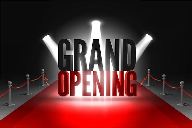 Gran evento de inauguración en focos en la alfombra roja entre dos barreras