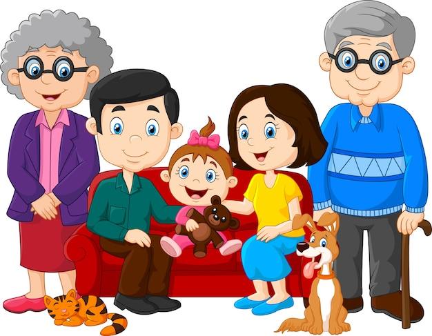 Gran familia con abuelos, padres e hijos