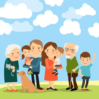 Gran familia y cielo con nubes.