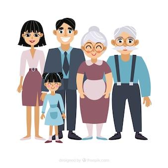 Gran familia feliz con diseño plano