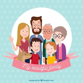 Gran familia feliz con estilo de dibujo a mano