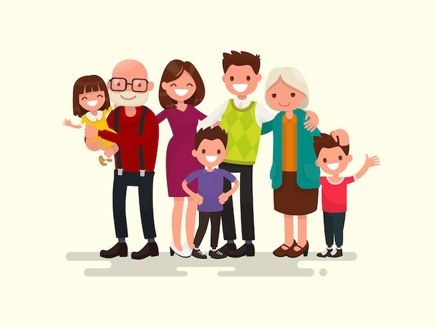 Gran familia juntos ilustración