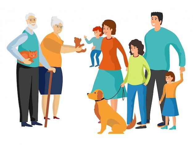 Gran familia. padre y madre, abuela y abuelo, niños y mascotas.
