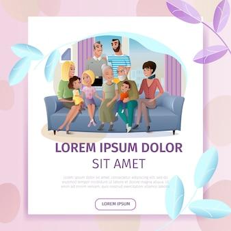 Gran familia pasando tiempo juntos página web de vectores