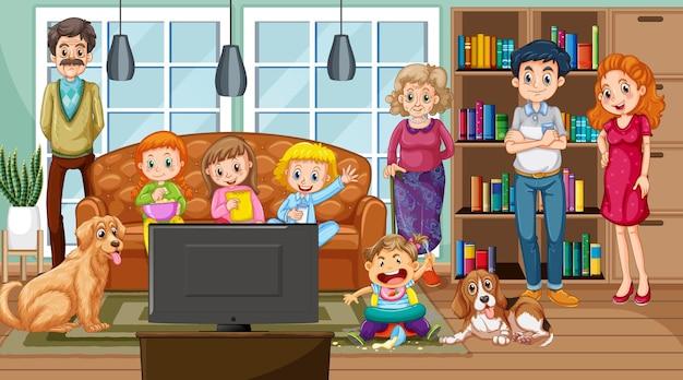 Gran familia con su mascota en la escena de la sala de estar.