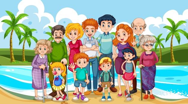 Gran familia tomando vacaciones