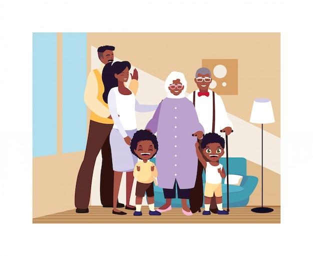 Gran familia unida en la sala, tres generaciones