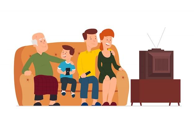 Gran familia está viendo la televisión.