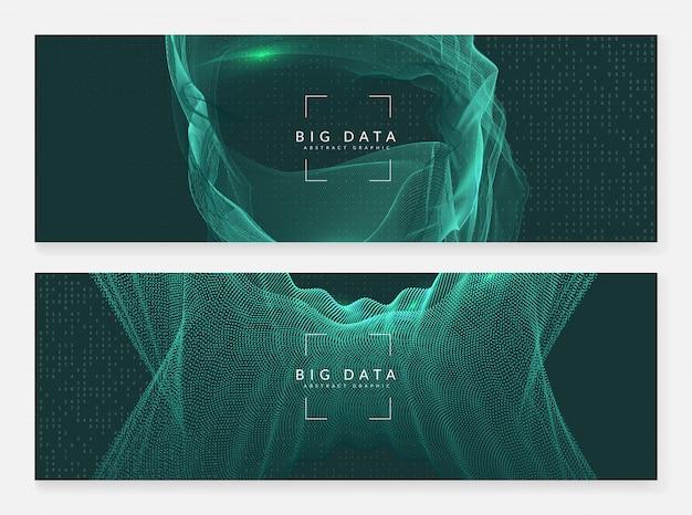 Gran fondo de banner de datos. resumen de tecnología digital