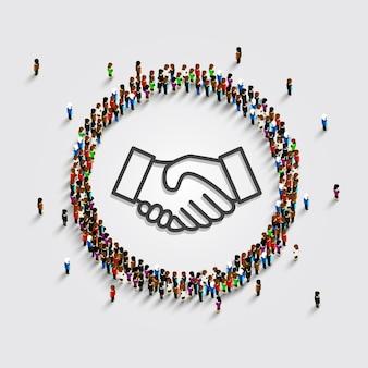 Un gran grupo de personas en un círculo con un signo de apretón de manos. ilustración vectorial