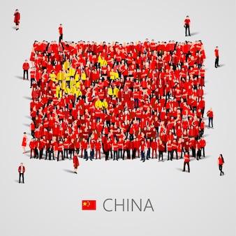 Gran grupo de personas en forma de bandera de china
