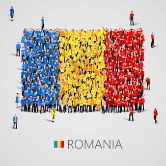 Gran grupo de personas en forma de bandera de rumania