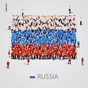 Gran grupo de personas en forma de bandera de rusia