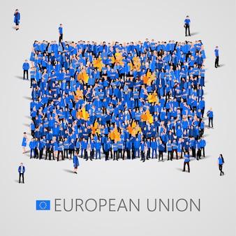 Gran grupo de personas en forma de bandera de la unión europea