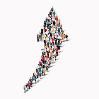 Un gran grupo de personas en forma de dirección de flecha.