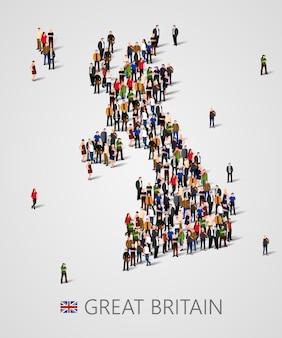 Gran grupo de personas en forma de mapa de gran bretaña. mapa del reino unido.