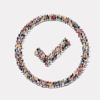 Un gran grupo de personas en forma de marca de verificación.