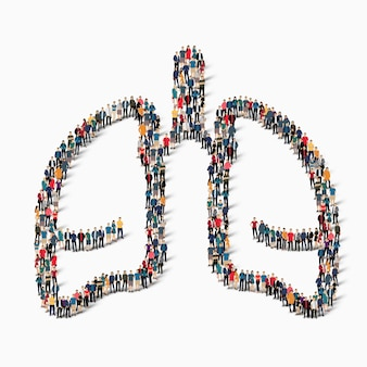 Un gran grupo de personas en forma de medicina humana pulmones. ilustración