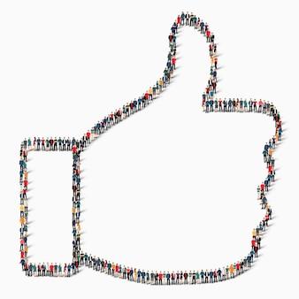 Un gran grupo de personas en forma de signo como éxito, icono.