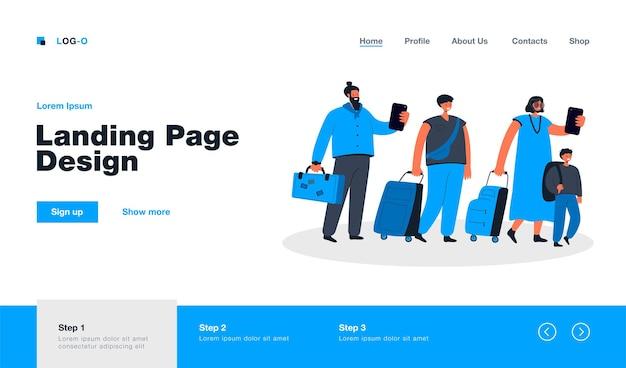 Gran grupo de turistas en línea con la página de destino del equipaje en estilo plano