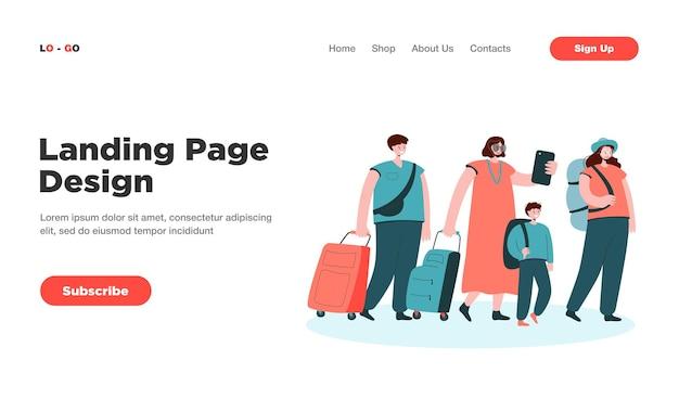 Gran grupo de turistas en línea con la página de destino del equipaje.
