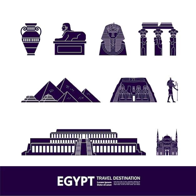 Gran ilustración de destino de viaje de egipto