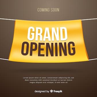 Gran inauguración con banner de tela realista