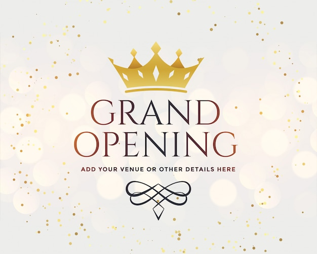 Gran inauguración blanca con corona dorada