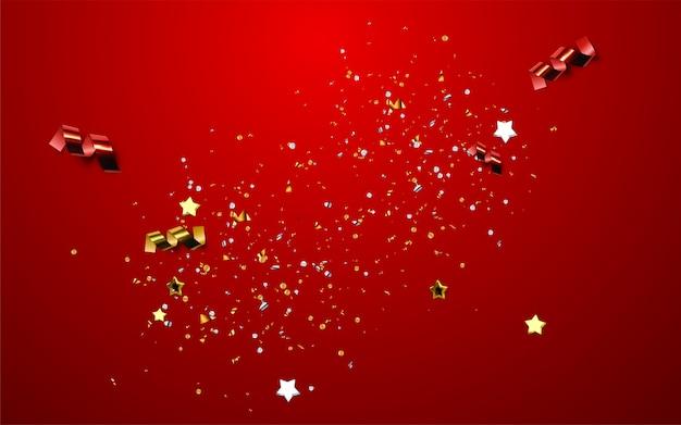Gran inauguración. ceremonia abierta de inicio de negocios. ilustración. etiqueta de evento de marketing. fondo abstracto con confeti brillante colorido