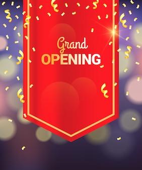 Gran inauguración diseño de cortina roja, fondo bokeh