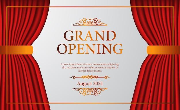 Gran inauguración elegante de lujo de teatro de escenario de cortina roja abierta con cartel de confeti dorado