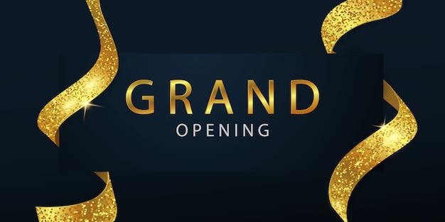 Gran inauguración con fondo de cinta dorada y brillos