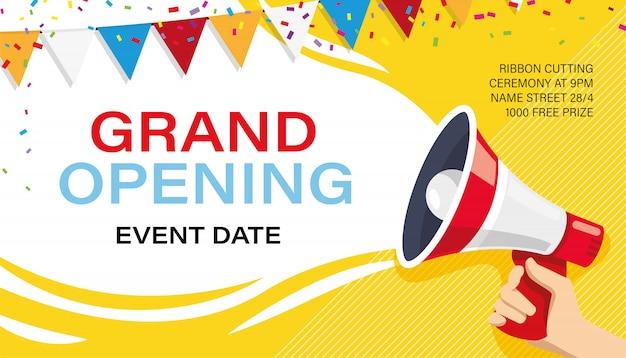 Gran inauguración plantilla de banner. publicidad