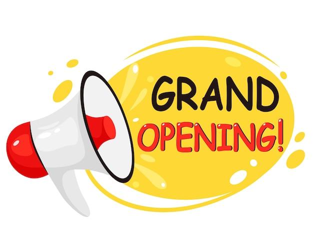 Gran inauguración, reapertura, somos banner abierto. carteles de invitación con altavoz megáfono. en estilo plano.