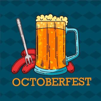 Gran jarra de cerveza y salchichas. oktoberfest estilo de dibujos animados. ilustración vectorial