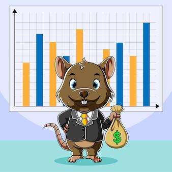 Gran jefe ratón sosteniendo una bolsa de dinero para aumentar el rango de dinero