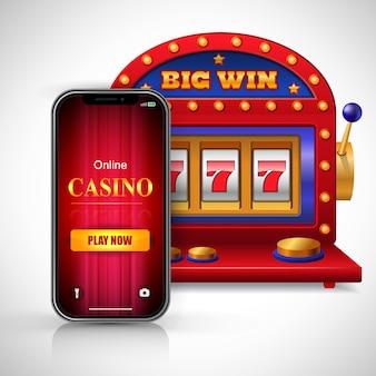 Gran juego de casino en línea ganar ahora letras en la pantalla del teléfono inteligente y la máquina tragamonedas.