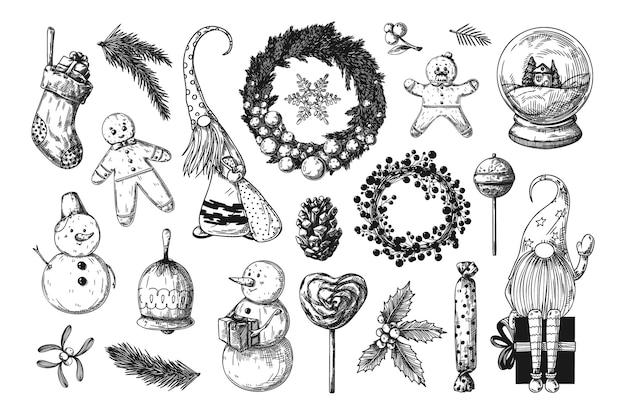 Gran juego de navidad. juguetes, muñeco de nieve, corona y otros elementos navideños. bosquejo